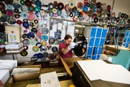 epa04346871 Employee Iva Mangova works at the Creation Process Department of the GZ Media vinyl record factory in Lodenice, Czech Republic, 05 August 2014. The former 'Gramofonove Zavody (Gramophone Record) Lodenice' factory pressed its first vinyl record in 1951. The factory was main producer of vinyl records for the Eastern Bloc. Vinyl Record Day is celebrated annually by many collectors on 12 August. EPA/FILIP SINGER